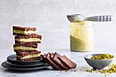 Vegan chocolate bars with pistachio ice cream