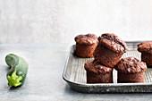 Vegan zucchini chocolate cakes