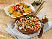 Mushroom ragout with polenta and cheese
