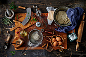 Antique, used baking utensils