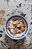 Granola with yogurt and fresh fruits