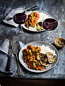 Lamm mit Auberginen und Reis (Slow Cooking, Naher Osten)
