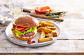 Grilled beef burger with home made French fries