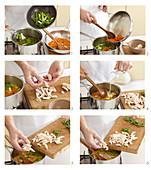 Frühlingssuppe mit Gemüse und Hühnerfleisch zubereiten