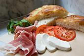 Parma ham, tomatoes, mozzarella and ciabatta