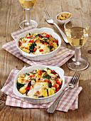 Spinach and gnocchi casserole with mozzarella