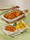 Schnitzel lasagna with ribbon noodles