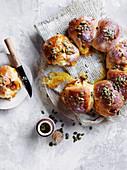 Pumpkin, taleggio and pancetta rolls
