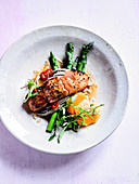 Soba Noodles with Grilled Salmon, Asparagus and Yuzu Orange Dressing