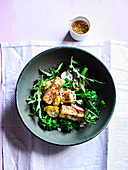 Togarashi Crusted Tofu with Broccoli and Soy Shallot Dressing