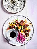Tuna Poke Salad and Lotus Crisps