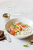 Cottage Cheese with Salmon, Radish, Cucumber, Dill and Olive Oil