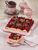 Pancake roll poppy seed cake with fresh berries