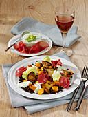 Pilz-Linsen-Cocktail mit Kürbis und Salatdressing