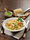 Spaghetti with salmon and parsley root pesto
