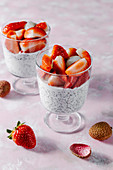 Kefir chia pudding with fresh strawberry and lychee