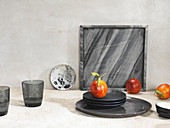 Still Life Of Plates, Bowls, Glasses, Marble Tray and Blood Oranges