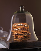 Dessert Squares on Wood Surface in Bell Jar,