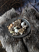Assortment of Fresh Eggs and Wild Mushrooms on Pewter Plate on Fur