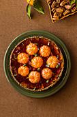 Mandarin jelly pie in pecan nut crust