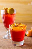 Mandarin juice jelly desserts in glasses