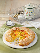 Galettes with blood oranges and almond cream