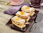 Orange cream slices with raspberry jam
