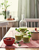 A green smoothie made with avocado and spinach