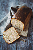 Toasted bread with rye flour, sourdough and butter
