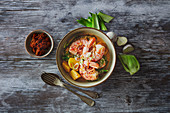 Thai masaaman curry with potatoes and prawns