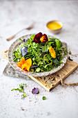 Wild herb salad with pansies and calvados vinaigrette