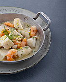 Fish ragout with prawns in a lemon and dill sauce
