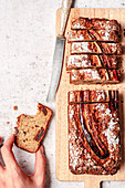 Whole grain banana bread with walnuts and dried dates