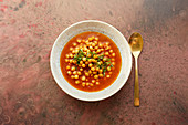 Indian chickpeas curry with chilli and turmeric