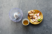 Ingredients for Indian ginger and garlic paste
