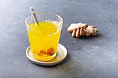 Turmeric tea with ginger and lemon