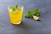 Golden flavoured water with turmeric, mint and lime