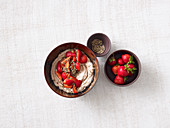Chocolate quark with strawberries and hemp seeds