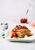 Pancakes with rhubarb and strawberry compote