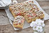 Vegan rhubarb quark cake with almond streusel