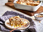 Sweet rice casserole with coconut and mango