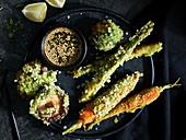Vegetable tempura with sesame dip