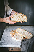Homemade sourdough bread sliced