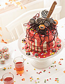 'Blood cake' with raspberry sauce and chocolate base for Halloween