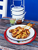 Chicken skewers with yellow curry
