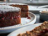 Vegan buckwheat cake with fruit filling