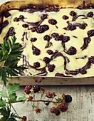 Marbled blackberry cake