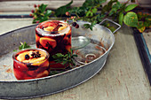 Pickled blackberries with plums