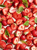 Fresh strawberries on cream cheese