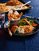 Chicken Kiev with Chunky Chips and Vegetable